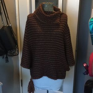 Renee's NYC Brown Knitted Poncho w/ side tassel